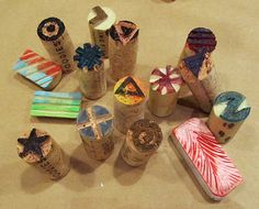 make your own stamps out of cork or erasers