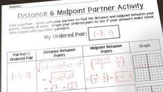 Fun activity for distance and midpoint {Blog Post with free downloads}