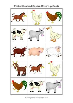 Farm Animal-Themed Pocket Hundred Square Cover-Up Cards (SB11580) - SparkleBox