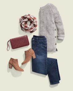 Love this whole look for fall!  Especially the sweater with side button detail!