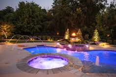 Spa Lighting, Deck Jets Recently Added Artistic Group Inc. Swimming Pool Pictures, Cool Swimming Pools, Swimming Pool Designs, Spa Lighting, Swiming Pool, Dream Pools, Outdoor Fire, In Ground Pools, Landscape Lighting