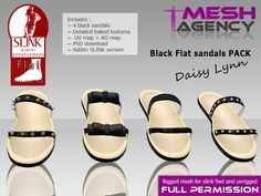 "Second Life Marketplace - Black Sandals "" Daisy Lynn"" - Full perm SLINK FLAT"