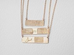 ACTUAL FINGERPRINT BAR NECKLACE This necklace is personalized with actual fingerprint and handwriting you provide us. -------- ENGRAVING