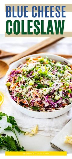 This Blue Cheese Coleslaw is a great way to mix up your coleslaw game. It is perfect as a side dish, added to sandwiches and wraps and fabulous on a burger for your next grill out. Feel free to ad-lib with whatever add ins you like. (Red onion would be great in place of the green onion!) But whatever you do, don't skimp on the blue cheese. Gluten Free Recipes For Breakfast, Healthy Gluten Free Recipes, Gluten Free Dinner, Healthy Recipes For Weight Loss, Healthy Dinner Recipes, Vegetarian Recipes, Blue Cheese Coleslaw, Healthy Meats, Veggie Side Dishes
