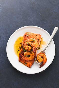 Honey Butter Salmon New Orleans Topped w/ Shrimp