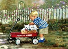Donald Zolan Artists For Kids, Art For Kids, Free Puppies, We Are The World, Painting For Kids, Children Painting, Westies, Vintage Cards, Vintage Children