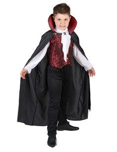 Déguisement vampire garçon : Ce déguisement de vampire pour garçon se compose d'un gilet avec manches, d'une cape et d'un pantalon (chaussures non incluses). Le haut représente un gilet rouge...
