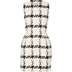 Alexander McQueen Houndstooth tweed mini dress ($3,295) ❤ liked on Polyvore featuring dresses, ivory, tailored dress, winter white dress, tweed dress, print mini dress and short dresses