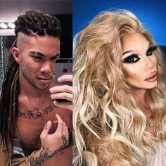 Man to woman 💪🏼💅🏽 should I bring the dreads back? tag me your favorite makeup line Drag Queens, Rupaul, Beautiful One, Gorgeous Men, Celebrity Couples, Celebrity News, Drag Queen Makeup, Makeup Before And After, Vegetarian Lifestyle