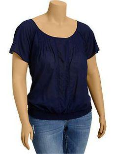 Womens Plus Pintucked Flutter-Sleeve Tops talla 1X