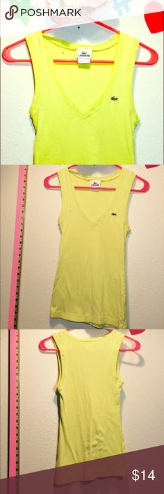Lacoste 🐊 Bright yellow v-neck tank top (36) Bright yellow - perfect condition - size 36 Lacoste Tops