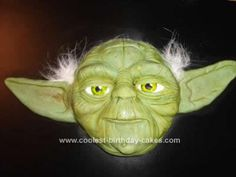Homemade Yoda Star Wars Theme Cake: This Yoda Star Wars Theme Cake made from an 8 round choc mix and gnashed all over to make surface ridged as so much detail to push down onto icing. The