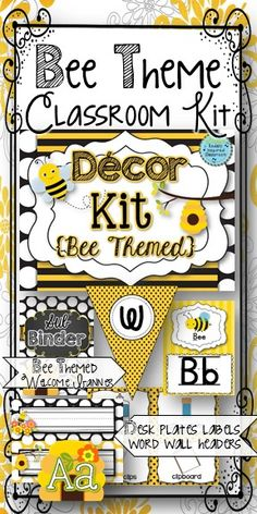 Classroom Decor Kit: Bee Themed Classroom Bundle {welcome banner, word wall headers, binder covers, desk plates, bin and room labels, and more, alphabet posters, flashcards and more!} 200+ pages!  #bts