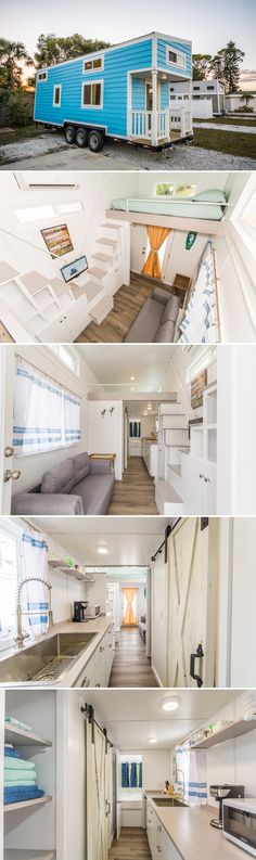 A tiny house available for rent at Tiny Siesta in Sarasota, Florida, the Blue Oasis offers a first floor bedroom and two lofts, all with queen size beds.