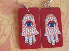 Hamsa Earrings, Hand of Miriam, Red - upcycled, upcycled, handpainted - http://evilstyle.com/hamsa-earrings-hand-of-miriam-red-upcycled-upcycled-handpainted