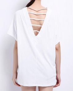 Cut out back t shirt for ladies plain white v neck short sleeve tee 0fe835ca2