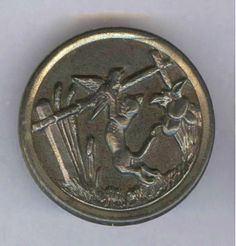 Scarce Antique Metal Picture Button - CAT - A Day in the Life..... BBB