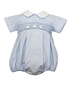 This sweet number has little ones ready for a day of crawling and playing! Elastic leg openings make this romper easy to slip on, while soft cotton makes it comfy to wear. Adorable embroidery and a Peter Pan collar make this piece extra special.