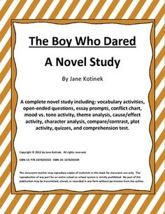 the boy who dared essay Conflict: helmuth, a little boy, is living in germany at the time when hitler rise's to power he is not jewish, but has a brave soul and stands up for anything he knows is wrong.