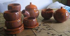 Juego de té torneado.  Mas información en ceramicatierraviva@hotmail.com