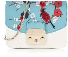 Furla Petalo Metropolis Mini Crossbody Bag w/Detachable Turquoise Garden Embroidery Flap