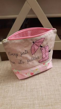 Lovely wellies and umbrella applique Makeup Bag using machine free- motion embroidery, Zip-Pouch, For Bits and Bobs, Handmade GBP 9.00 by CurlyEmmaEmbroidery on Etsy