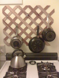 lattice Pot Rack...I kind of have the cousin to this.  This I could do - there are a lot of lattices out there...