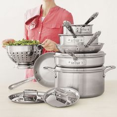 All-Clad® D5 Brushed Stainless Steel 10-Piece Set with Free Colander | Sur La Table
