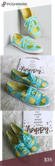 Keds Champion Pineapple Print Slip On Sneakers Still in great pre-loved condition slip on canvas shoes from Keds in size 8. No major laws except normal wears and tears on soles area.  -Light blue color. -Pineapples print. -Canvas upper. -4 eyelet lace up sneaker. -Two sets of laces: tonal & white. -Soft breathable lining. -Cushioned insole. -Flexible, textured rubber outsole. -Care instructions: spot wash, air dry. ❌no trades or modeling. Always open to reasonable offers. Bundle and save…