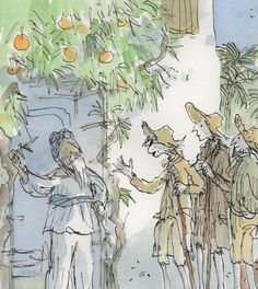 Julian Barnes's splendid essay on Voltaire's Candide, from the Graun. (Illustration: Detail from one of Quentin Blake's illustrations to the Folio Society edition of Candide) Quentin Blake Illustrations, Julian Barnes, Roald Dahl, Children's Book Illustration, Book Illustrations, Political Cartoons, Line Drawing, Childrens Books, Anime Characters