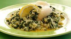 Ovnbagt fisk med indisk inspireret spinatsauce   Samvirke Grains, Rice, Favorite Recipes, Karry, Food, Essen, Meals, Seeds, Yemek