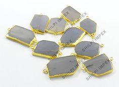 Shining Gems! 5Pc Natural Grey Chalcedony Brass Wholesale Lot Connectors Jewelry #Shining_Gems #Connectors #Jewelry #gemstone