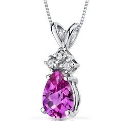 14k White Gold Pear Shape Pink Sapphire and Diamond Pendant