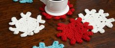 Free Snowflake Coasters Crochet Pattern from RedHeart.com