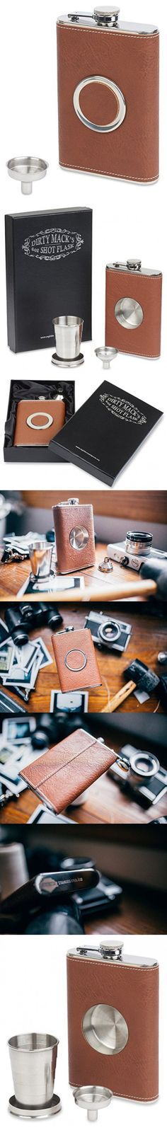 Shot Flask - Dirty Mack's 8oz Brown Leather Stainless Steel 8 Ounce Hip Whiskey Flask Gift Set with Collapsible Retractable Steel Cup and Easy Pour Funnel - Great Wedding or Anniversary Gift