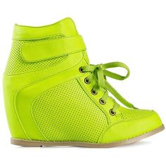 Nly Shoes Layer (40 CAD) ❤ liked on Polyvore featuring shoes, sneakers, wedges, everyday shoes, lime, velcro sneakers, high heel wedge sneakers, round cap, wedge trainers and lime green shoes