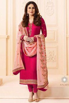 Ravishing Pink Color Georgette And Satin Function Wear Designer Salwar Suit