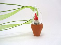 Potted Garden Gnome Terrarium Pendant by ManyMinis on Etsy, $35.00