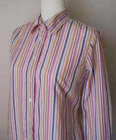 J. Crew Women's Shirt Slim Fit Button-Down Multi-Striped L/Sleeve Cotton Size M  #JCrew #ButtonDownShirt #Casual