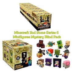 Minecraft End Stone Series 6 Mystery Minifigures Blind Box Full Case of ×24 Sealed Packs + Retail Display Box by Mattel #DMB47