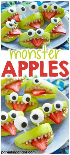 Halloween is a very fun time of year, especially for kids. If you love to enjoy the holiday, these halloween monster apples will be fun for everyone! halloween food and drink Halloween Dinner, Halloween Food For Party, Halloween Desserts, Halloween Halloween, Halloween Baking, Halloween Cupcakes, Women Halloween, Halloween Projects, Halloween Makeup