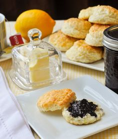 Sour Cream Lemon Scones. Beautifully light and tender little lemon scones that go together particularly well with wild blueberry jam.