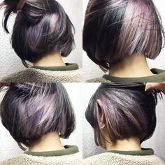 Like that it is subtle, like the colors, more orange Grey Hair Dye, Ombre Hair, Pink Hair, Dyed Hair, Hidden Hair Color, Medium Hair Styles, Short Hair Styles, Edgy Short Hair, Bob Hair Color