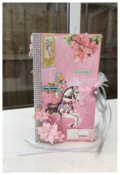 Excited to share the latest addition to my #etsy shop: Tall big mini album bo bunny christmas carousel in pink and silver #holidays #silverbling #pinkchristmas #bobunny #carousel #scrapbook #centrepiece