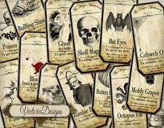 15 Large Halloween Apothecary Labels 4.5 x 2.23 inch Jar Labels Tags Halloween printable digital collage sheet VD0420 on Etsy, $4.95