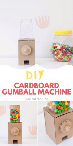 This creative DIY Cardboard Gumball Machine actually works and makes a fun recycled craft for kids. #hellowonderful Cardboard Crafts Kids, Recycled Crafts Kids, Cardboard Playhouse, Diy Projects With Cardboard, Cardboard Toys, Cardboard Furniture, Diy Arts And Crafts, Diy Crafts Videos, Easy Crafts