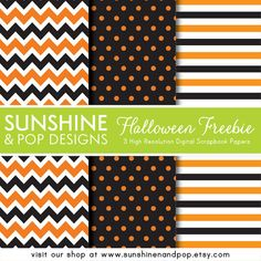 FREE Halloween Digital Scrapbook Paper Download. Perfect for invites, party circles, backgrounds, and other crafting projects. Patterns include chevron, polka dots, and stripes.
