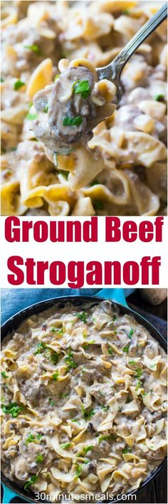 The best Ground Beef Stroganoff is so unbelievably creamy thanks to a few secret ingredients. Easy to make, in just 30 minutes you have an amazing dinner! #beef #pasta #dinner