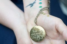 Find Your Wings and Fly... Engraved Vintage Locket