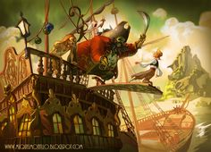Awesome art inspired by The Curse of Monkey Island, showing Guybrush being backed off the plank by LeChuck
